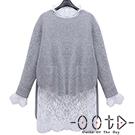 圓領長袖毛衣+立領蕾絲上衣兩件套 (灰色)-OOTD
