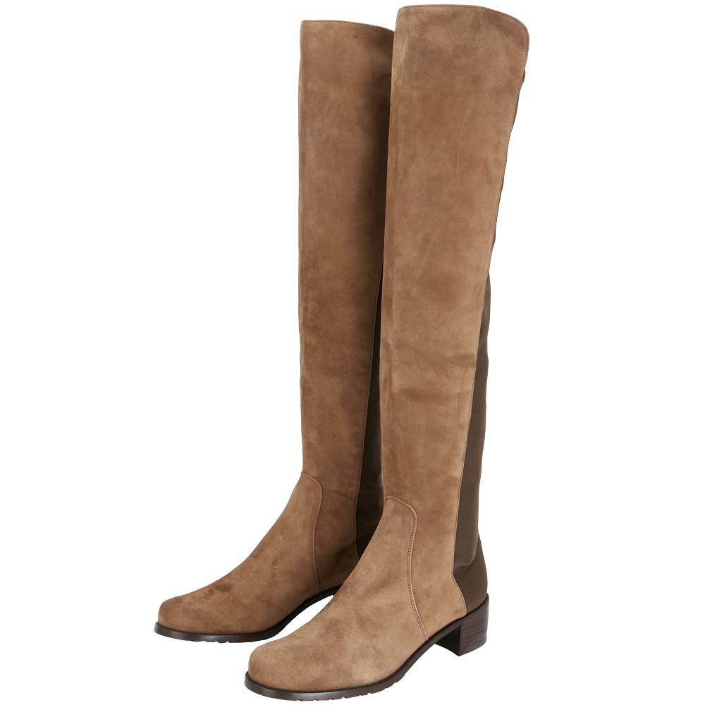 Stuart Weitzman RESERVE 麂皮拼接過膝長靴(棕色)
