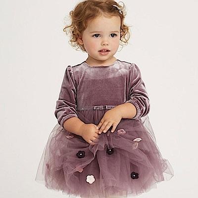 Dave Bella 紫羅蘭花朵長袖紗裙洋裝