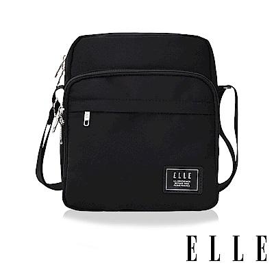 ELLE 爵士輕旅系列 輕量多隔層休閒直式斜背/側背包-黑色EL83503