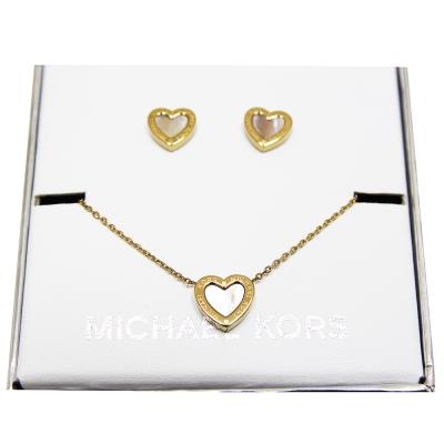 MICHAEL KORS 愛心項鍊及愛心耳環套裝組-金色(附原廠禮盒)