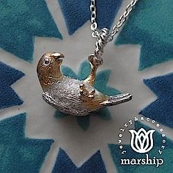 Marship 日本銀飾品牌 鸚鵡項鍊 單腳垂墜款 925純銀 K金X亮銀款