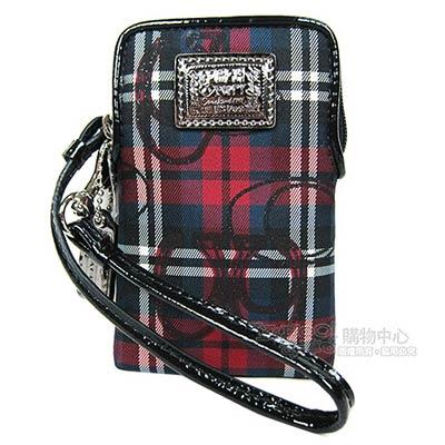 COACH POPPY格紋風格iPhone袋(黑紅)