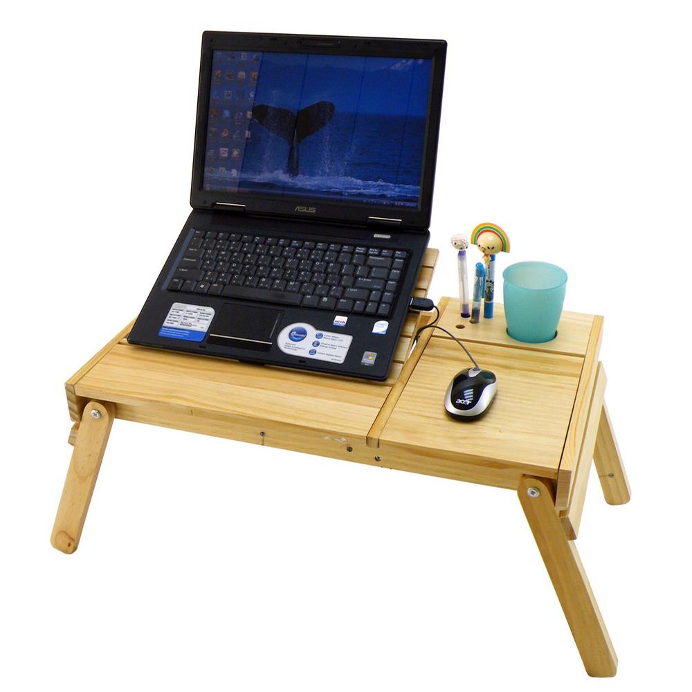 LIFECODE 小幫手-松木筆記型電腦桌/床上桌/NB桌(雙置物盒+杯架+筆座)