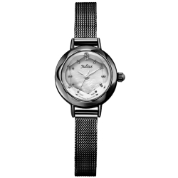 JULIUS聚利時 氣質名媛貝殼鏡面復古米蘭帶腕表-黑/22mm