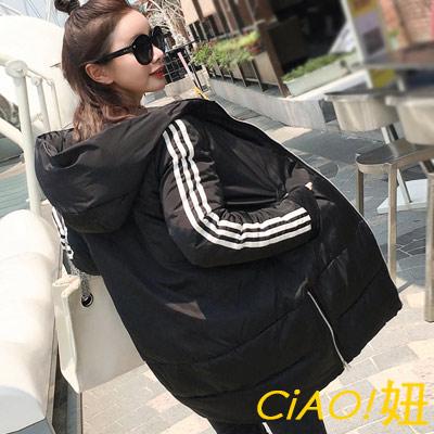 條紋中長款羽絨棉連帽外套 (共四色)-CIAO妞