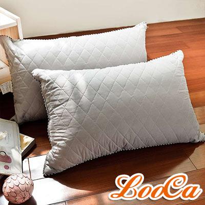 LooCa 可水洗抗菌竹炭棉枕 2入