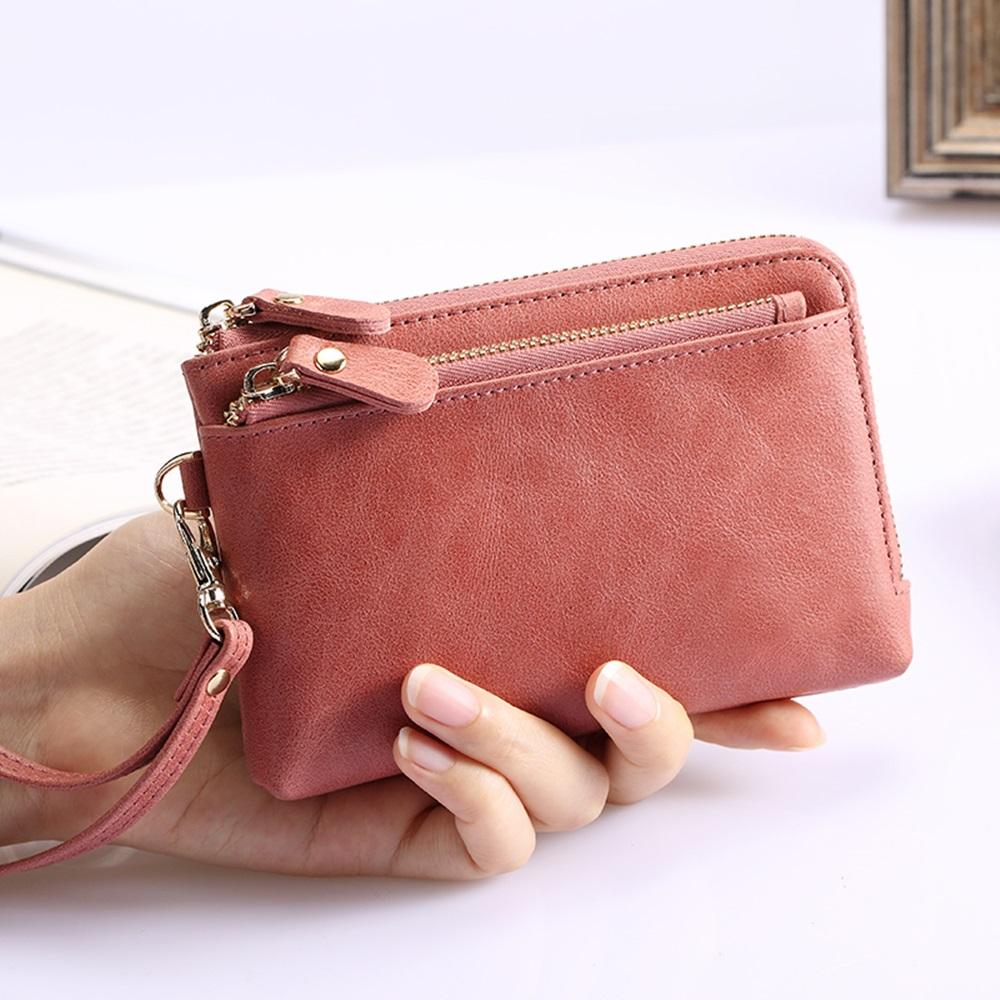 玩皮工坊-真皮頭層牛皮復古女士三拉鍊零錢包手拿包小手包女夾-LH328