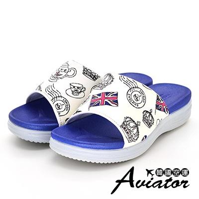 Aviator韓國空運-正韓製英式風格塗鴉撞色涼拖鞋-藍