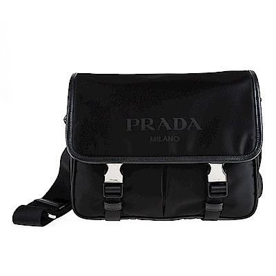 PRADA 經典側三角鐵牌簡約設計繡字尼龍雙釦斜背包 (黑色)