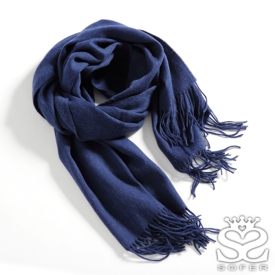 SOFER-簡約素色100-純羊毛保暖披肩-圍巾-寶藍new