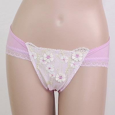莎露 雛菊系列M-L 中低腰三角褲(紫)奢華刺繡蕾絲