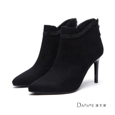 達芙妮DAPHNE-短靴-排鑽綴邊絨布高跟踝靴-黑
