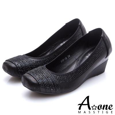 A-one-燙鑽拼接細帶方頭楔型跟鞋-黑色