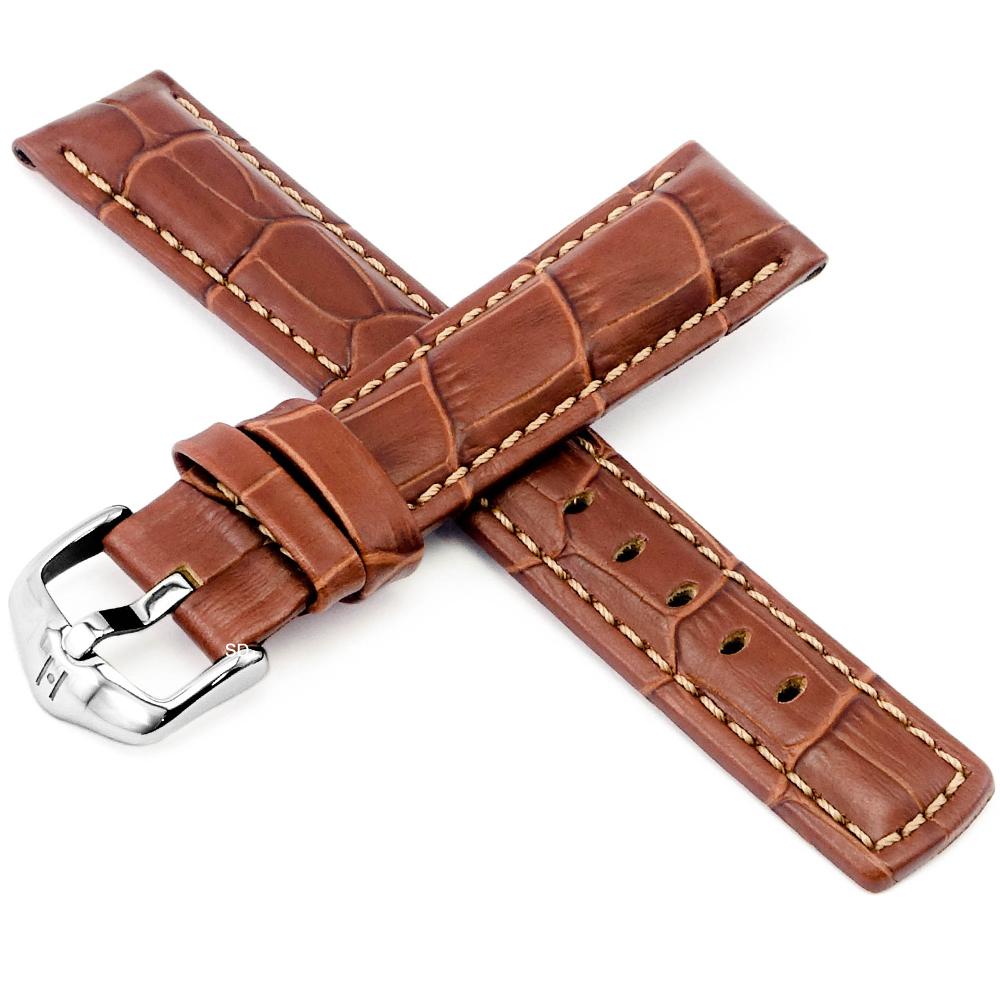 海奕施HIRSCH Grand Duke L小牛皮手錶帶-紅棕