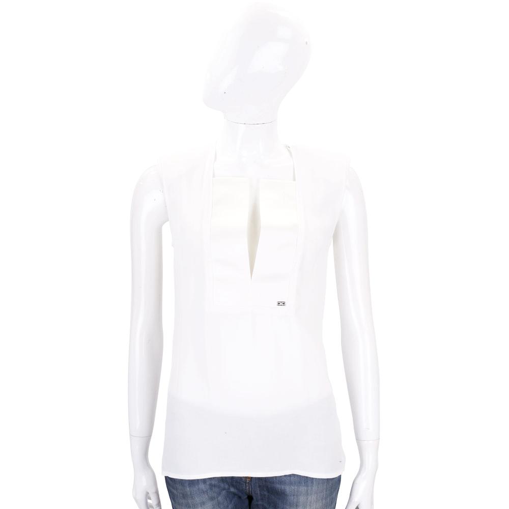ELISABETTA FRANCHI 白色開襟無袖上衣