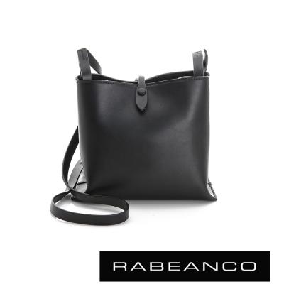 RABEANCO-迷時尚牛皮系列經典方型肩背包-黑