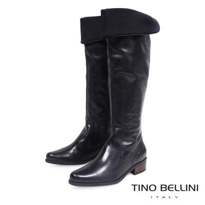 Tino Bellini 巴西全真皮舒適2穿低跟過膝長筒靴_黑