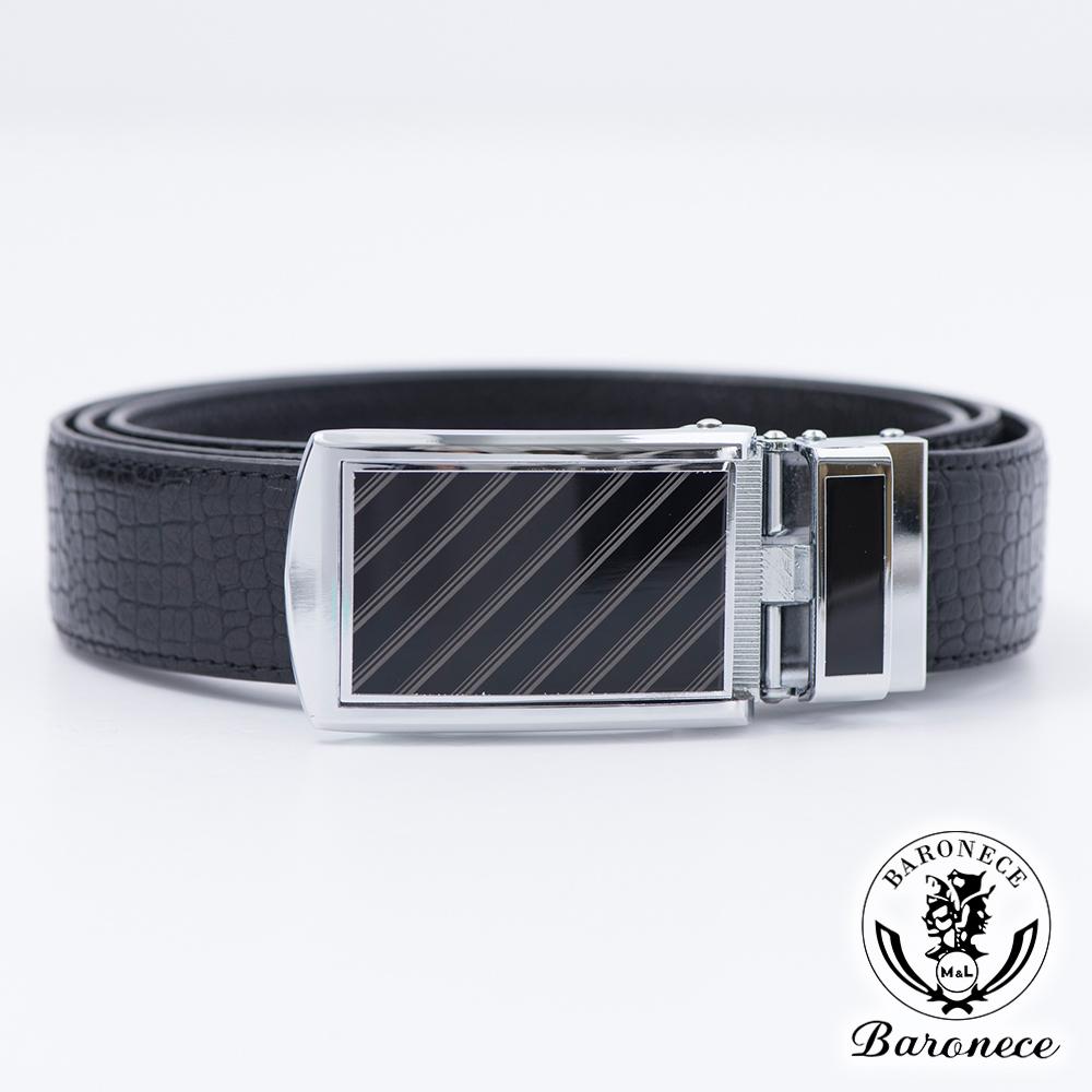 BARONECE 嚴選高品質皮革格紋皮帶_黑色(517002)