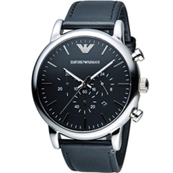 EMPORIO ARMANI Classic 英倫簡約風計時腕錶-黑x銀色/46mm