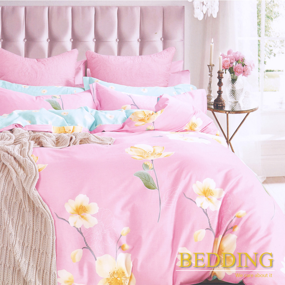 BEDDING - 100%純棉 單人床包組含枕套「因為愛情-粉」