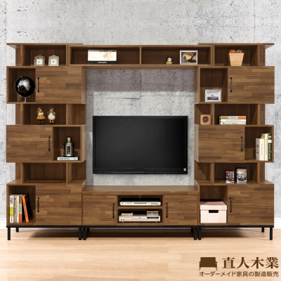 日本直人木業-MAKE積層木280CM電視收納櫃組(280x40x196cm)