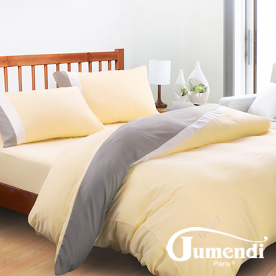 Jumendi-水鑽之星.米 台灣製防蹣抗菌被套床包組-雙人