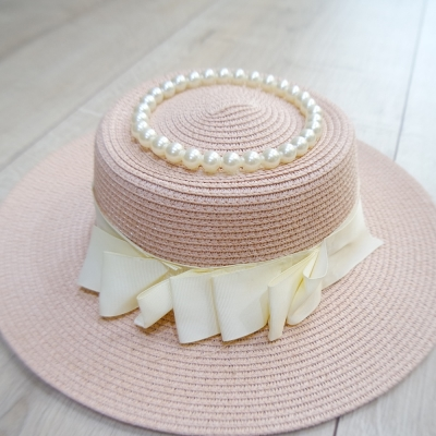 梨花HaNA 韓國戴珍珠項鍊的少女唯美草帽粉紅色-速
