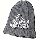 ERMANNO SCERVINO 蕾絲拼貼灰色馬海毛粗針織羊毛帽