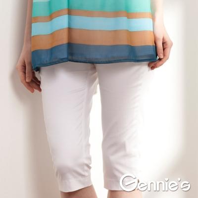 【Gennie's奇妮】素面彈性窄管孕婦七分褲  (C4506)-白