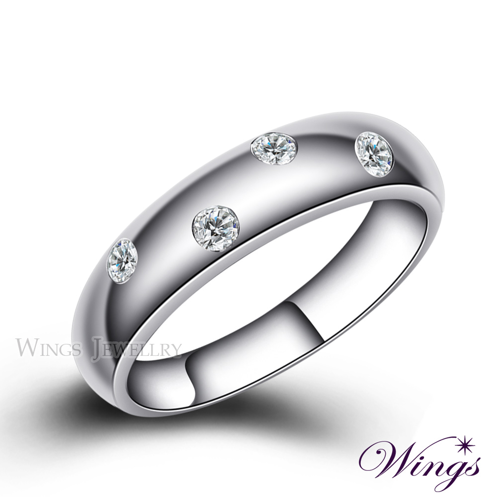 Wings 誓約 頂級八心八箭方晶鋯石 925純銀鍍白K戒指 (寬版) 可做對戒
