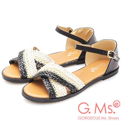 G.Ms. 拼色編織交叉平底涼鞋-黑色