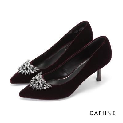 達芙妮DAPHNE 高跟鞋-天鵝絨水鑽尖頭高跟鞋-紫紅