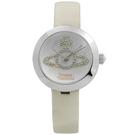 Vivienne Westwood 獨特典雅晶鑽真皮腕錶-銀x杏/30mm