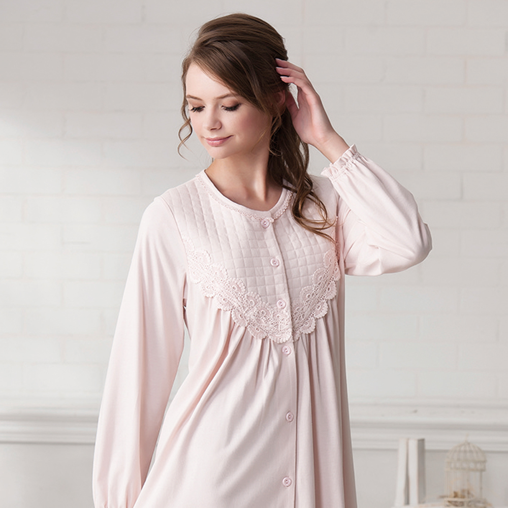 羅絲美睡衣 - 溫柔記憶長袖洋裝睡衣(粉橘色)
