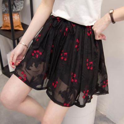 中大尺碼 精緻緹花紅色繡花鬆緊腰抽繩麻紗褲裙XL~4L-Ballet Dolly