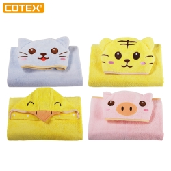 COTEX可愛動物連帽大浴巾