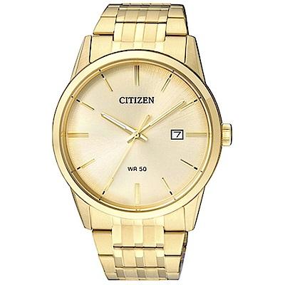 CITIZEN星辰 純粹流金歲月鋼帶石英男錶(BI5002-57P)-金/39mm