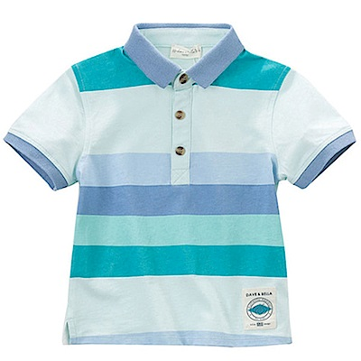 Dave Bella 淡藍底藍綠紫粗條紋短袖POLO衫