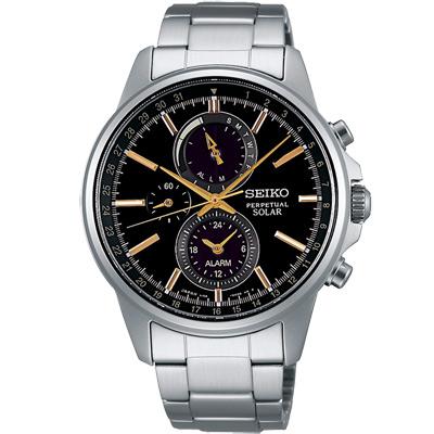 SEIKO SPIRIT太陽能萬年曆計時腕錶(SBPJ007J)-黑/41mm