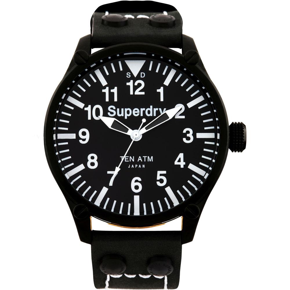 Superdry極度乾燥英倫紳士風格真皮手錶-黑/48mm