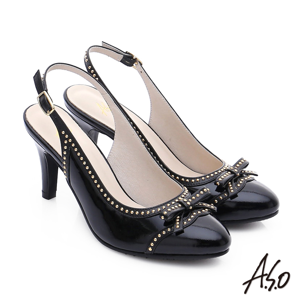 A.S.O 注目嬌點 真皮蝴蝶結鉚釘後空高跟鞋 黑色