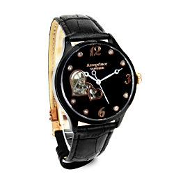 Arseprince 心心相印鏤空時尚機械腕錶-黑色/35mm