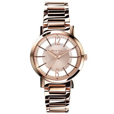 RELAX TIME RT56 輕熟風格系列鏤空腕錶-玫瑰金/42mm