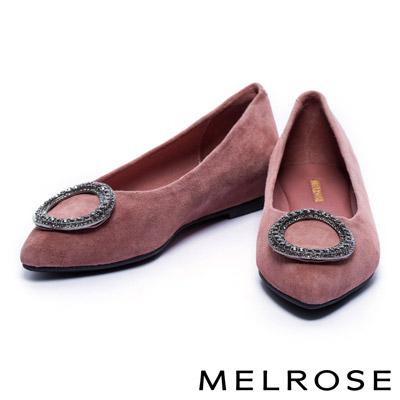 娃娃鞋 MELROSE 圓型鑽釦羊麂皮內增高娃娃鞋-粉