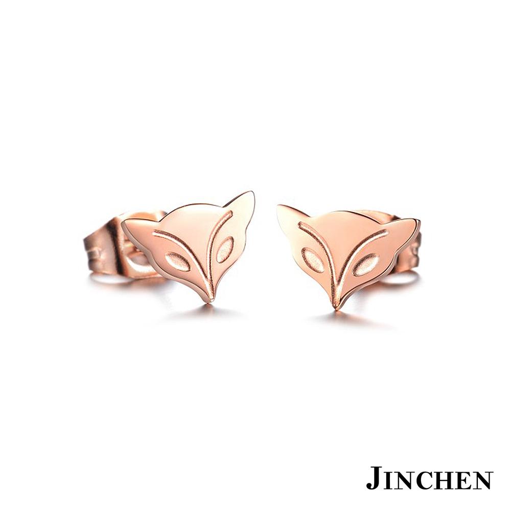 JINCHEN 白鋼桃花狐狸耳環