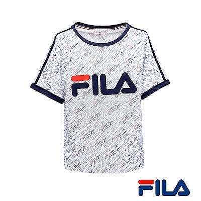 FILA女性全印Logo T恤(純淨白)5TER-1435-WT