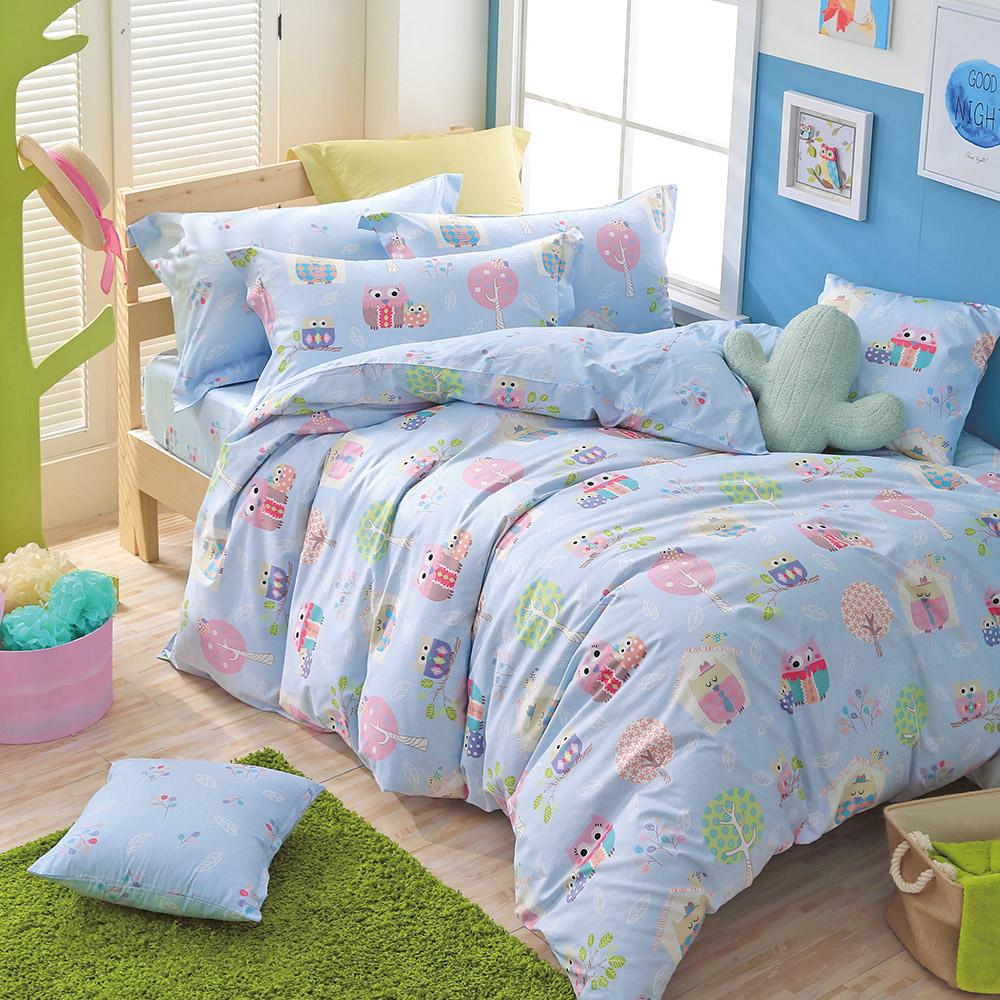 IN HOUSE - Owl city-200織紗精梳棉-兩用被床包組(藍-加大)