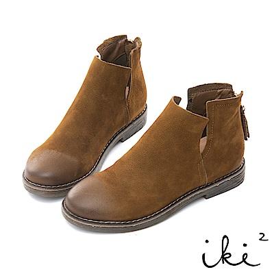 iki2 全真皮-高質感軟牛皮側切口短靴-褐
