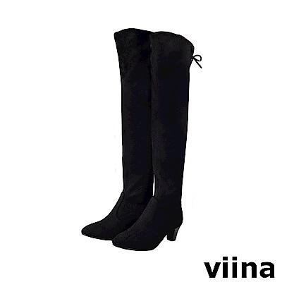 viina -顯瘦系列-後綁帶彈性絨布過膝低跟長靴-黑